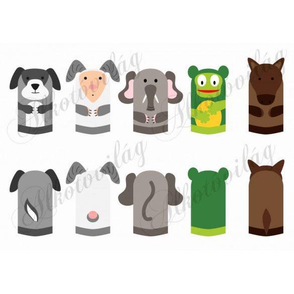 béka, ló, elefánt, kos, kutya