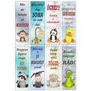 Könyvjelzők motivációs feliratokkal fiús színekben