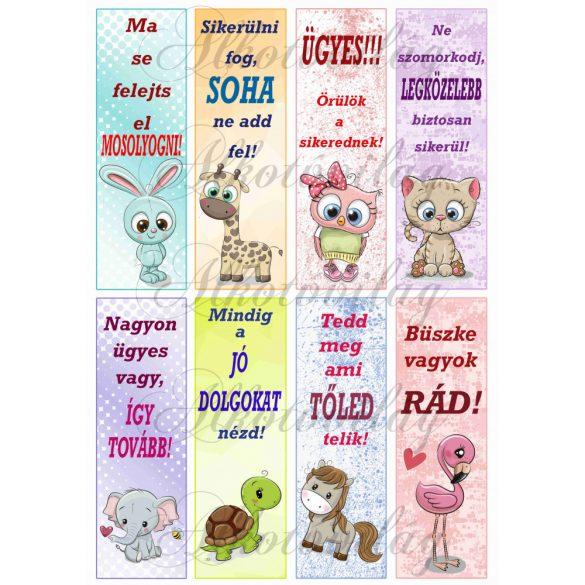 Könyvjelzők motivációs feliratokkal lányos színekben