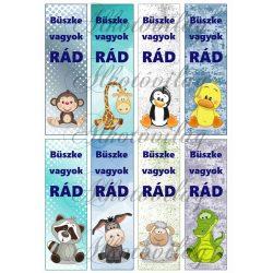 Könyvjelzők állatkákkal fiús színekben - BÜSZKE VAGYOK RÁD felirattal