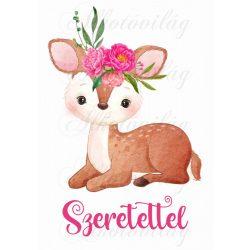 Őzike rózsákkal SZERETETTEL felirattal