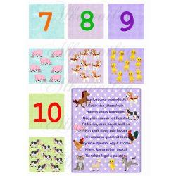 Oktató kártyák számokkal, állatokkal versikével - MÁSODIK OLDAL