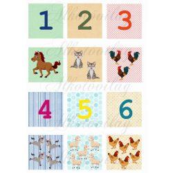 Oktató kártyák számokkal, állatokkal, versikével- ELSŐ OLDAL