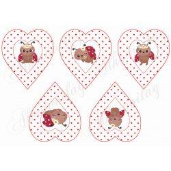 Tüneményes katicák apró szíves szívekben