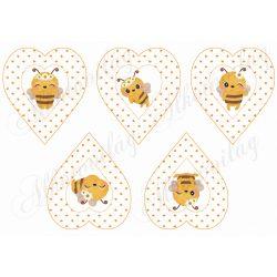 Tüneményes méhecskék apró szíves szívekben