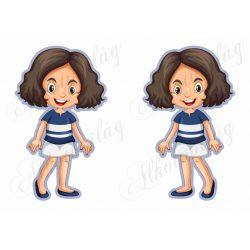 Meseszereplő- barna hajú lányka kék csíkos ruhában