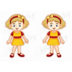 Meseszereplő- szőkés hajú lányka piros- sárga ruhában