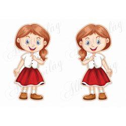 Meseszereplő- vörösesbarna hajú lányka piros szoknyában