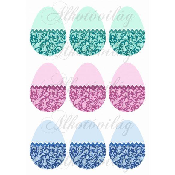 Tojások pasztell színekben csipkével 2