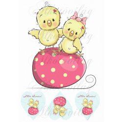 Kiscsibék pöttyös tojáson nagyban + 3 szívben