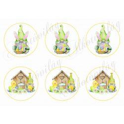 Húsvéti manók tojásokkal, kiscsibével körökben