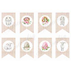 Kézzel rajzolt nyuszik és bárányok húsvéti dekorációkkal bannereken