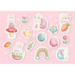 Kedves húsvéti matrica figurák nyuszikkal