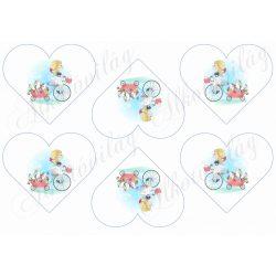 Kedves kislány biciklivel, cuki nyuszikkal