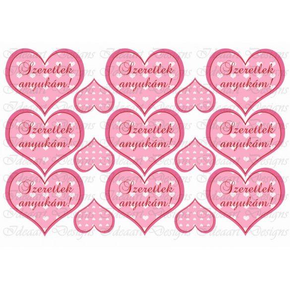 Szíves szívek rózsaszínben – szeretlek anyukám