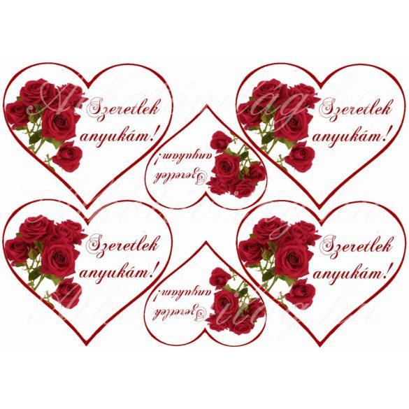 Szívek rózsákkal anyák napjára