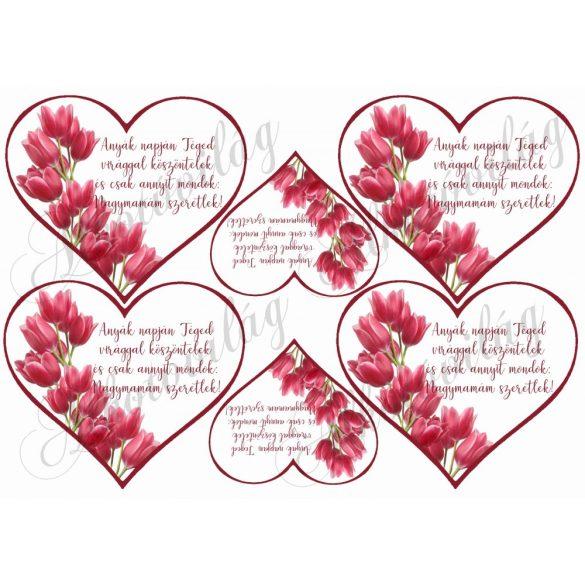 Szívek tulipánokkal + idézettel nagymamám szeretlek