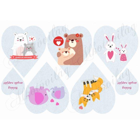 Anyáknapi szívek állatkákkal KÉK