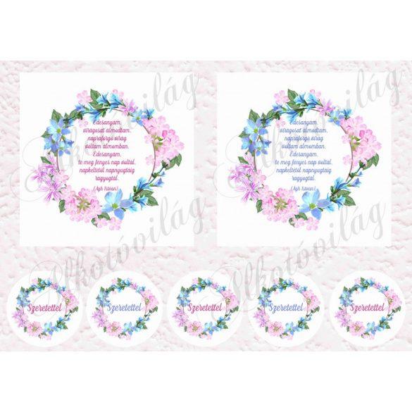 Virágos keretek anyáknapi idézetekkel 12,5 cm-es hímzőkerethez kék-rózsaszín