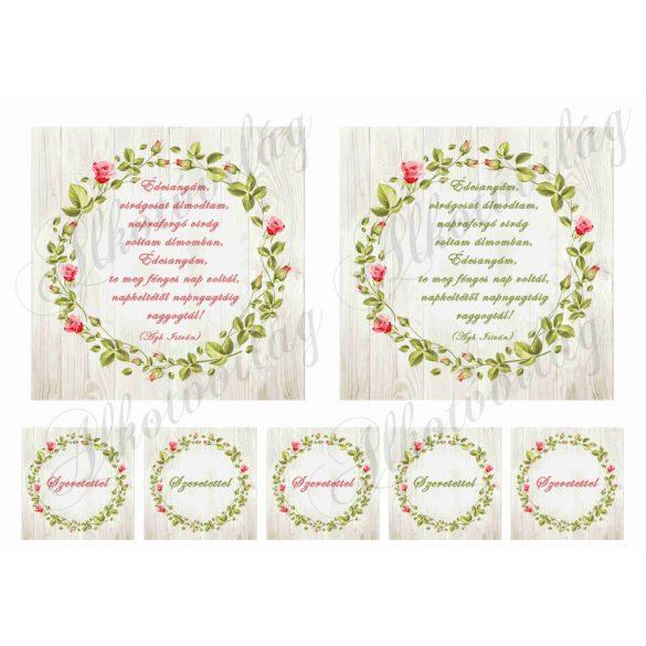 Virágos keretek anyáknapi idézetekkel 12,5 cm-es hímzőkerethez