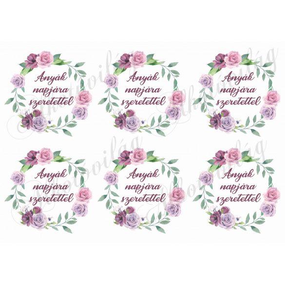 Rózsás koszorúk anyák napjára szeretettel felirattal