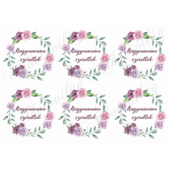 Rózsás koszorúk nagymamám szeretlek felirattal