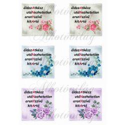 ANYA felirat 8x8 cm négyzetekben virágokkal