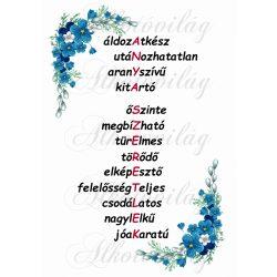ANYA SZERETLEK felirat kék sarok virággal A4