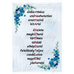 ANYA SZERETLEK felirat kék sarok virággal halványkék alapon