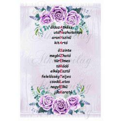 ANYA SZERETLEK felirat lila rózsákkal 20x28 cm