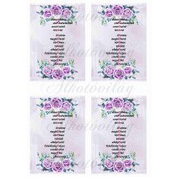 ANYA SZERETLEK felirat lila rózsákkal 4db