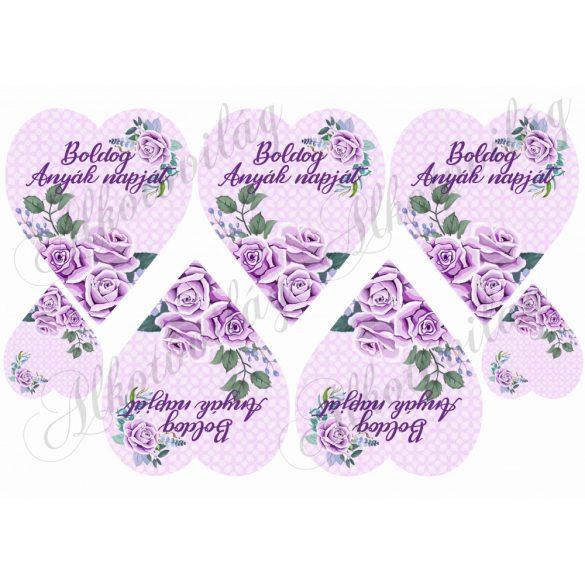 Lila rózsák lila szíveken BOLDOG ANYÁK NAPJÁT FELIRATTAL