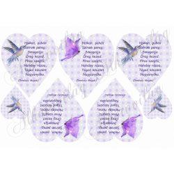 Nagymamás vers szívekben kolibrivel, pillangóval