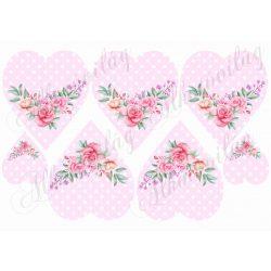 Rózsaszín pöttyös szív rózsával