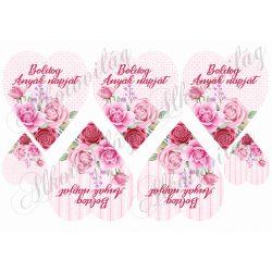 Rózsaszín rózsás szívek kétféle alappal BOLDOG ANYÁK NAPJÁT FELIRATTAL