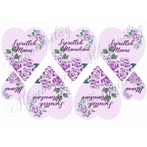SZERETLEK MAMI ÉS MAMIKÁM lila rózsás szívben