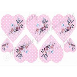 Szívek rózsaszín pöttyös alapon kézzel festett rózsával