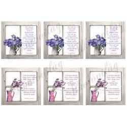 Virágok ablakban anyák napi idézettel
