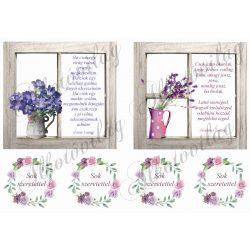 Virágok ablakban NAGYBAN anyák napi idézettel+körök