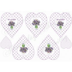 Lila apró szív mintás szívek Sok szeretettel felirattal levendula virágos kislánnyal