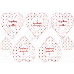 Piros apró szív mintás szívek Anyukám szeretlek felirattal