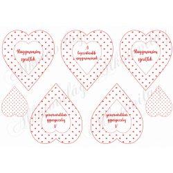 Piros apró szív mintás szívek Nagymamám szeretlek felirattal