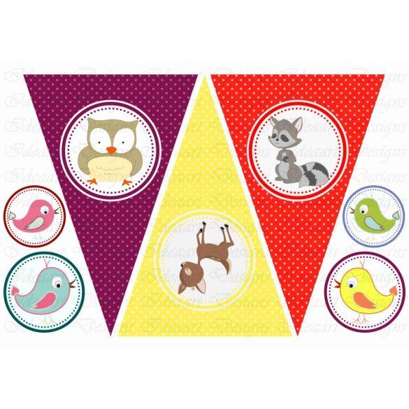 Állatkás banner (lila, sárga, piros)