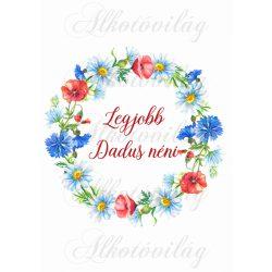 Pipacsos- búzavirágos koszorú - Legjobb dadus néni felirattal