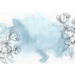 Fotóháttér kék vízfestékkel, fekete virágokkal termékfotózáshoz