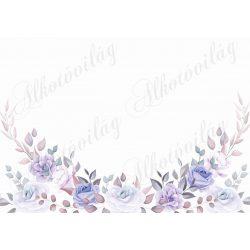 Fotóháttér kékes-lilás rózsákkal fehér háttérrel termékfotózáshoz