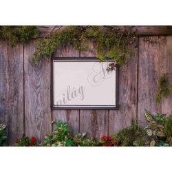 Fotóháttér képkerettel, zöld növényekkel deszka fallal termékfotózáshoz