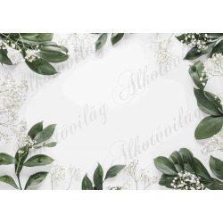 Fotóháttér levelekkel és fátyolvirággal termékfotózáshoz