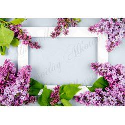 Fotóháttér lila orgonákkal fehér kerettel termékfotózáshoz