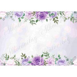 Fotóháttér lila rózsákkal termékfotózáshoz